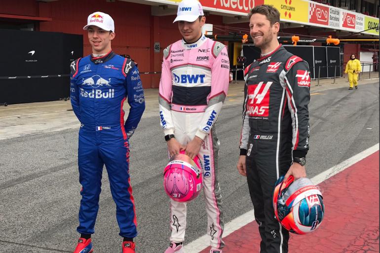 Pierre Gasly, Estevan Ocon et Sébastien Grosjean en février 2018