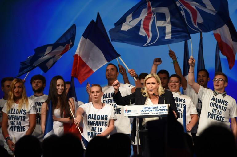 Marine Le Pen lors de l'université d'été du Front national, le 6 septembre 2015