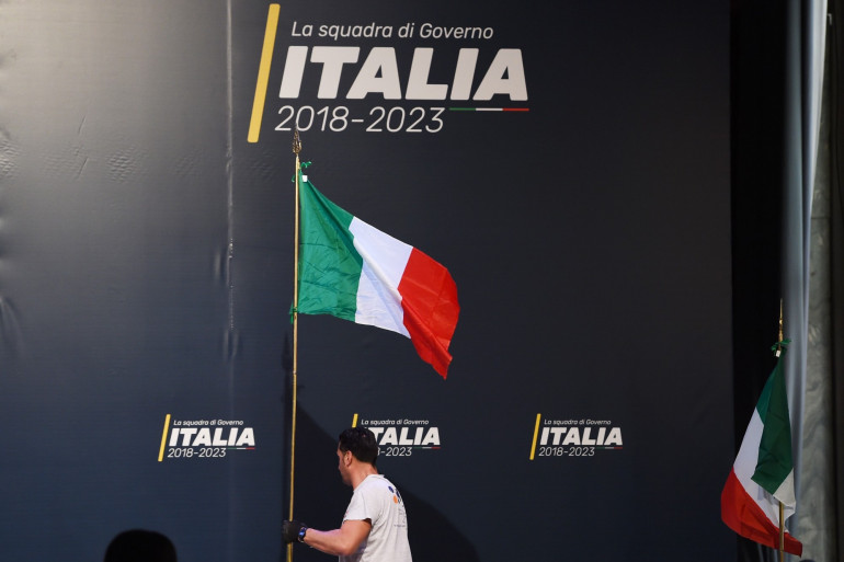 Lors d'un meeting Luigi Di Maio, chef politique du Mouvement 5 Étoiles, le 1er mars 2018