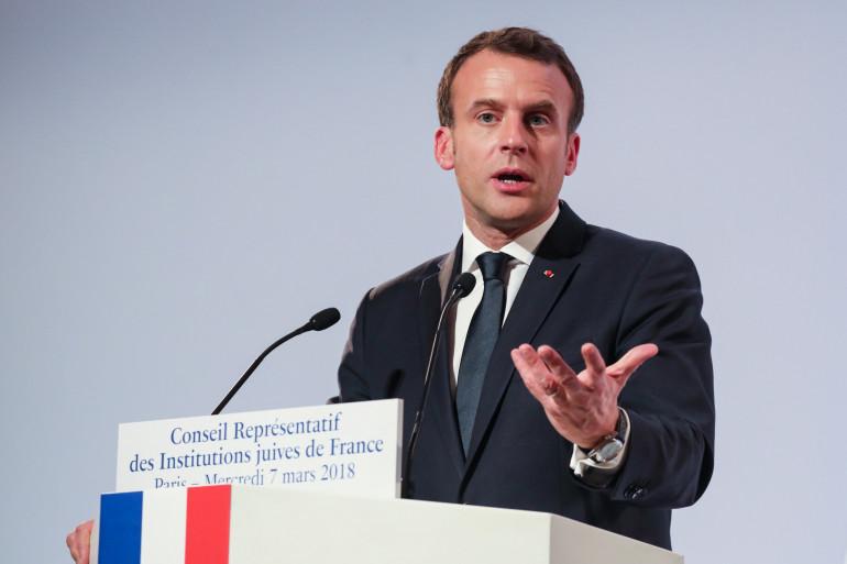 Emmanuel Macron lors de son discours au dîner du Crif, le 7 mars 2018