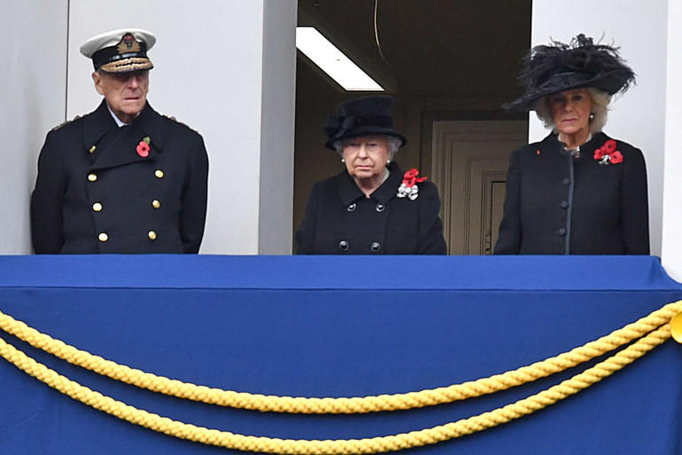 Le prince Philippe, la Reine Elizabeth et Camilla, duchesse de Cornwall, lors du Remembrance Sunday en 2017