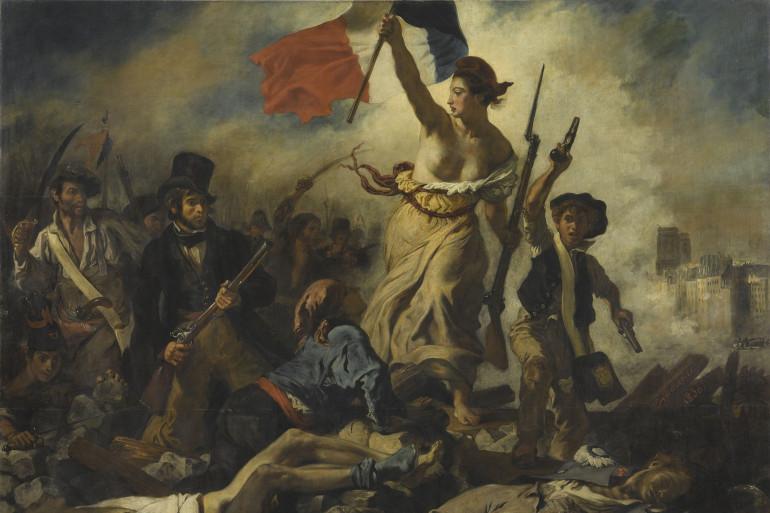 """Eugène Delacroix, Le 28 juillet 1830. """"La liberté guidant le peuple"""" (1830). Salon de 1831."""