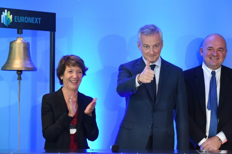 Bruno Le Maire lors de l'introduction en bourse de la Française des Jeux, le 21 novembre 2019