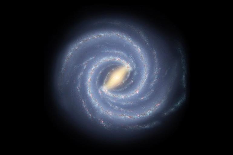 Illustration de ce à quoi ressemblerait la Voie lactée si nous pouvions aller à l'extérieur de notre galaxie et la regarder.