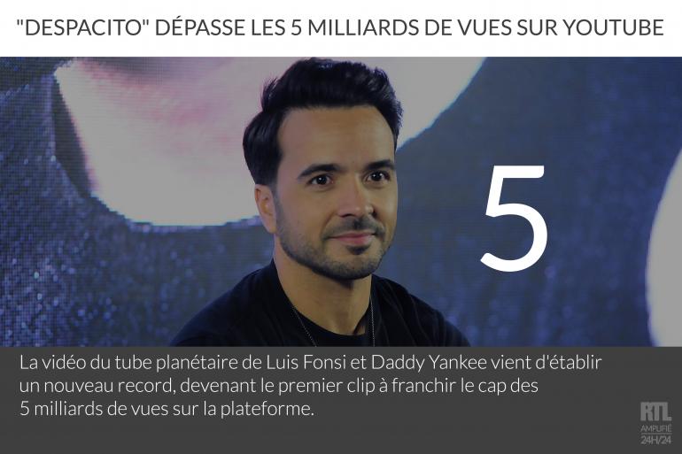 """Le clip de """"Despacito"""" dépasse la barre des 5 milliards de vues sur YouTube"""