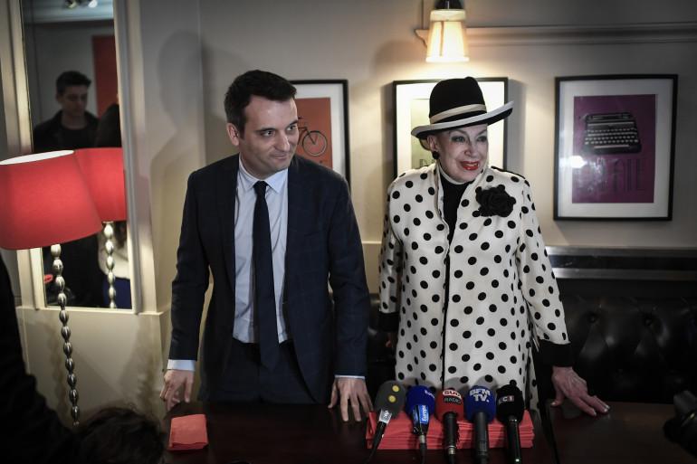 Florian Philippot et Geneviève de Fontenay réunis le 23 avril 2018 à Paris