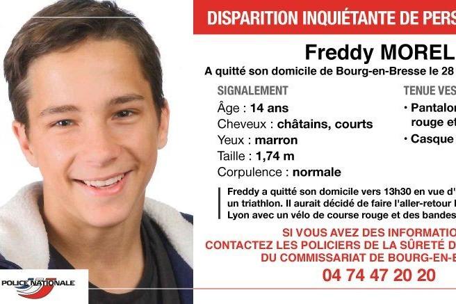 Freddy Morel, un adolescent de 14 ans originaire de Bourg-en-Bresse dans l'Ain est disparu depuis samedi 28 avril