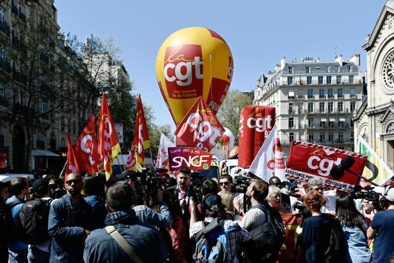 Une manifestation de la Fédération CGT de cheminots, le 19 avril 2018 à Paris