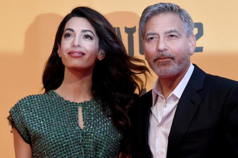 George Clooney et son épouse Amal Clooney, à Rome en mai 2019