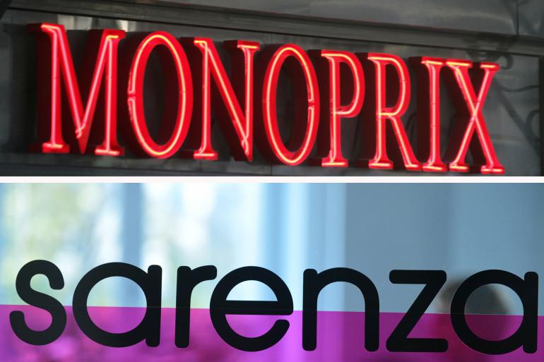 Les logos de Monoprix et de Sarenza