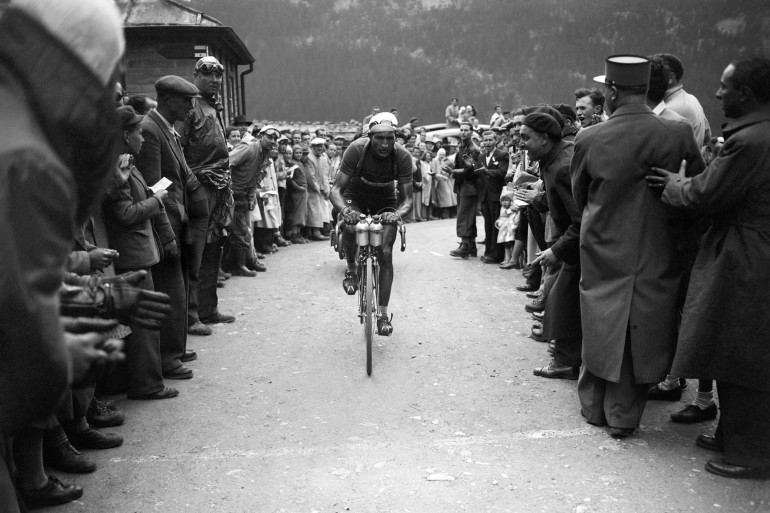 Gino Bartali lors du Tour de France, en juillet 1949
