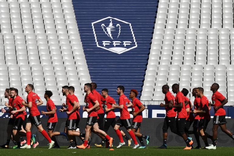 Les joueurs des Herbiers s'entraînent au Stade de France le 7 mai 2018