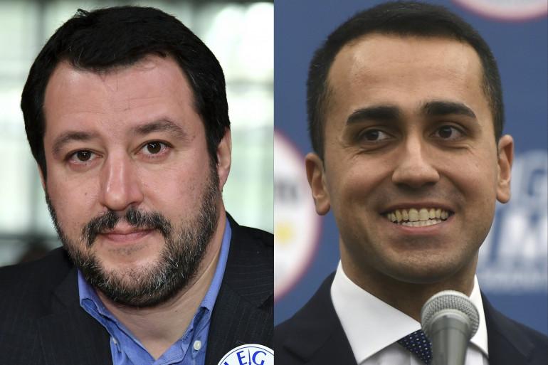 Les portraits de Matteo Salvini (Ligue du Nord) et Luigi Di Maio (Mouvement Cinq Étoiles)
