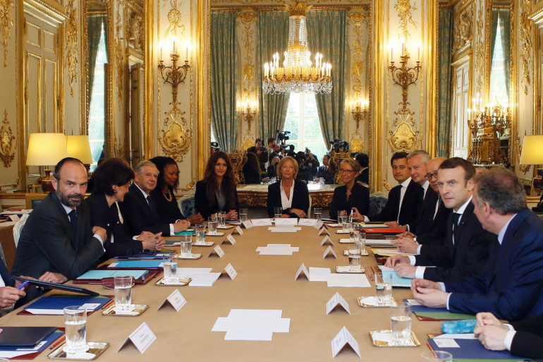 Le premier Conseil des ministres du gouvernement d'Édouard Philippe, le 18 mai 2017