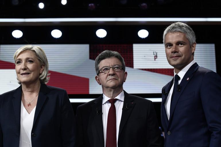 Marine Le Pen, Jean-Luc Mélenchon et Laurent Wauquiez sur le plateau de l'Emission Politique le 17 mai 2018