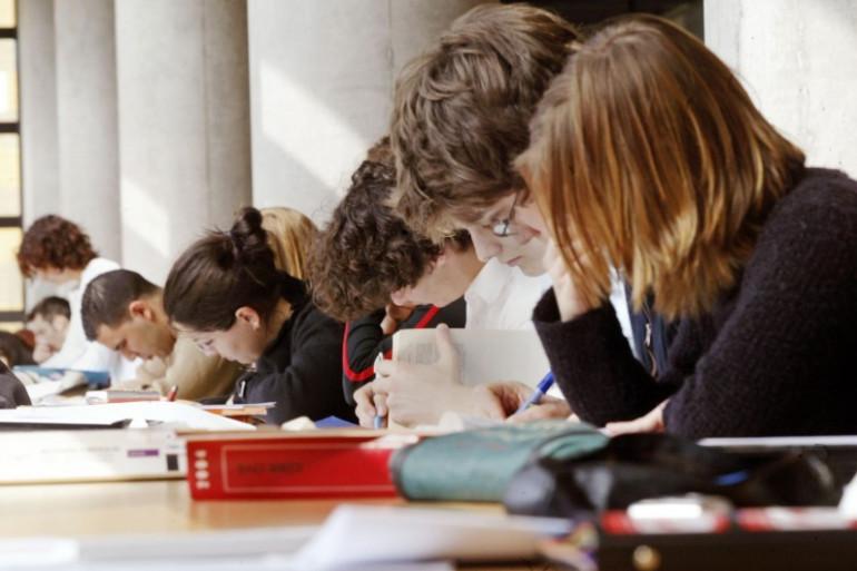 Des étudiants à la bibliothèque (illustration)