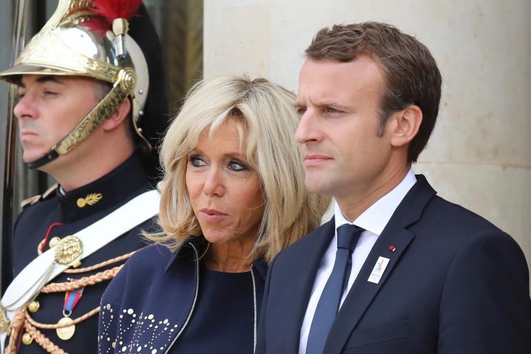 Brigitte et Emmanuel Macron, à l'Élysée, le 15 septembre 2017