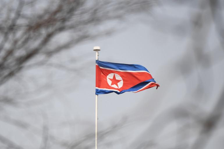Un drapeau nord-coréen à l'ambassade de ce pays en Chine (Illustration)