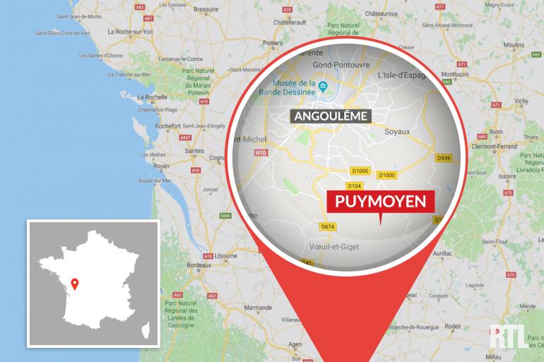 La ville de Puymoyen, près d'Angoulême (Charente).