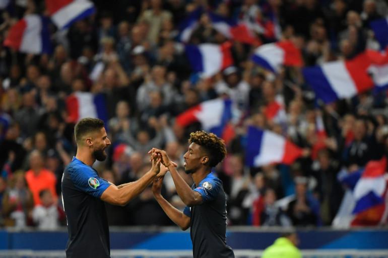 Olivier Giroud et Kingsley Coman le 7 septembre 2019 à Saint-Denis