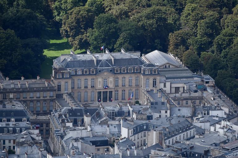 Le palais de l'Élysée vu du ciel (illustration)