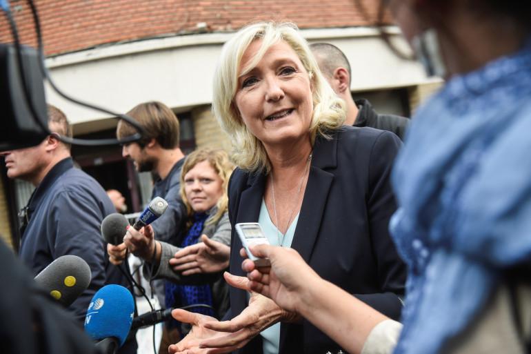 Marine Le Pen, présidente du Rassemblement national, pour son discours de rentrée à Hénin Beaumont (Pas-de-Calais) dimanche 8 septembre