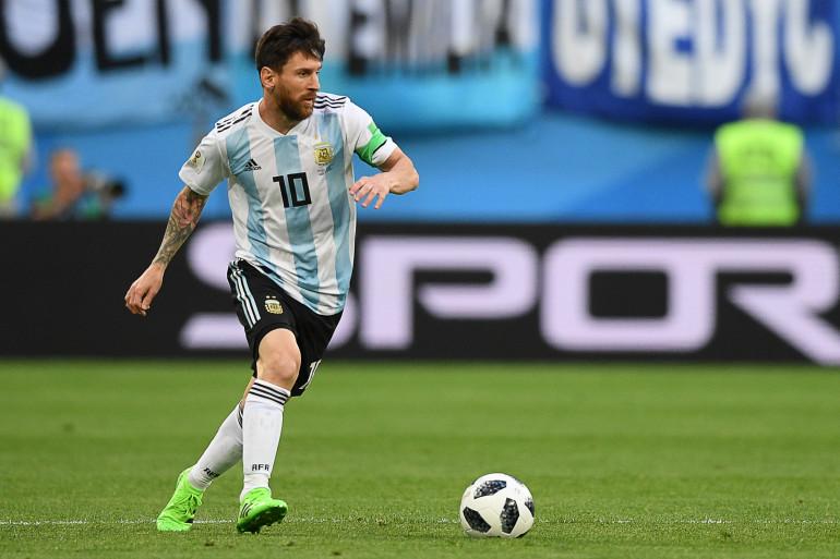 Lionel Messi avec l'Argentine le 26 juin 2018 à Saint-Pétersboiurg