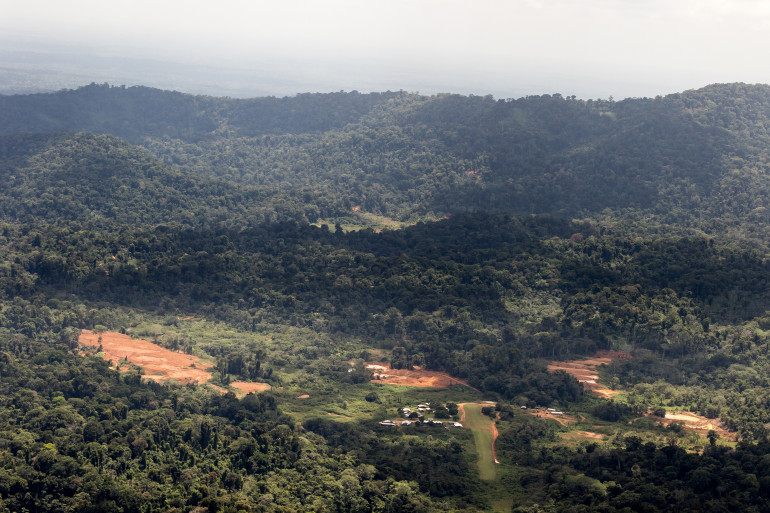 Le site d projet de la Montagne d'or, en Guyane.