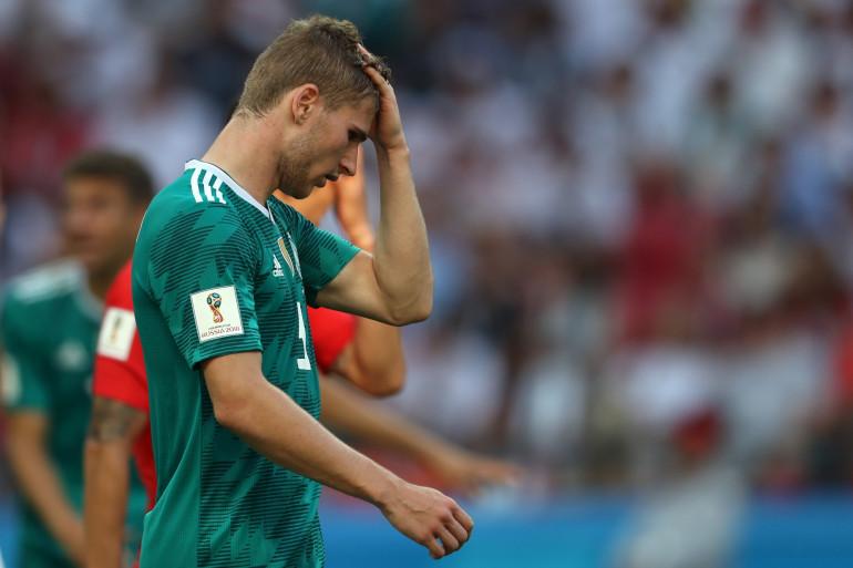 La détresse de l'Allemand Timo Werner après l'élimination de son équipe dès le premier tour du Mondial, le 27 juin 2018