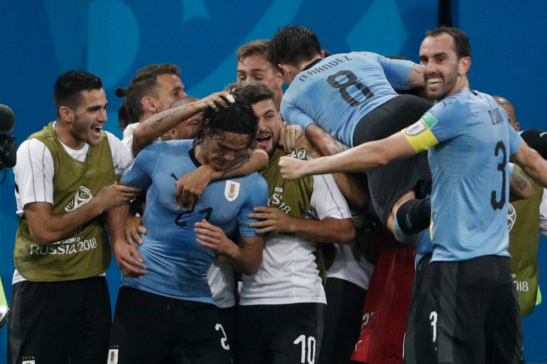 Les Uruguayens laissent éclater leur joie après leur qualification, samedi 30 juin à Sotchi