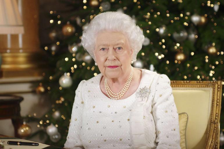 Elizabeth II lors des voeux de Noël en décembre 2017