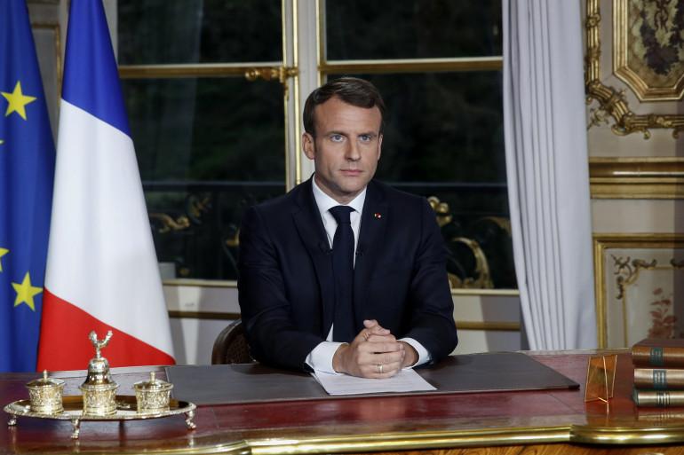 Le président de la République Emmanuel Macron lors d'une allocution en avril 2019
