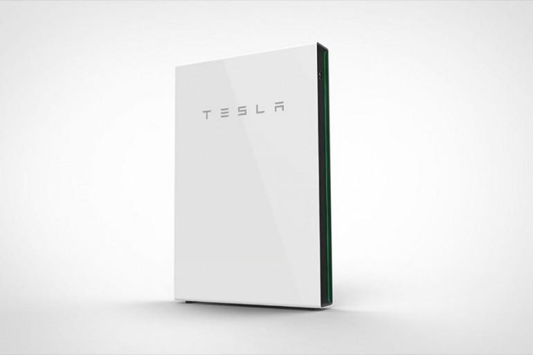 Une batterie de stockage de la marque Tesla (Illustration)