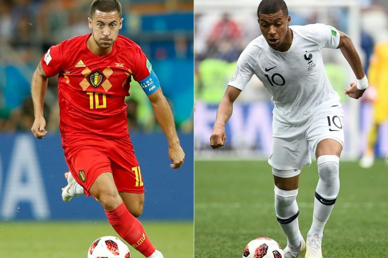 Le Belge Eden Hazard et le Français Kylian Mbappé (Illustration)