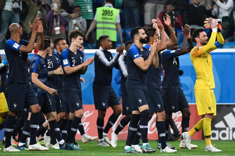 Les Bleus célèbrent leur victoire contre la Belgique en demi-finale de la Coupe du Monde, le 10 juillet 2018
