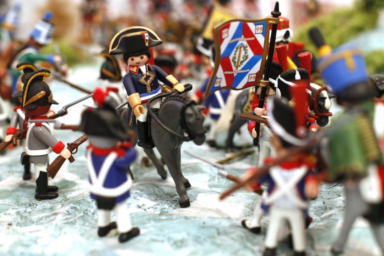 Une scène de la vie de Napoléon reconstituée avec des Playmobil, à Ajaccio.