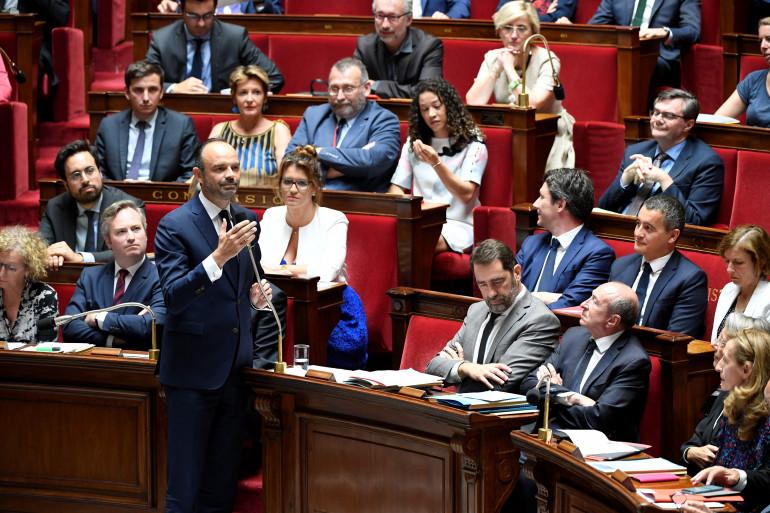 Édouard Philippe et le gouvernement à l'Assemblée nationale le 24 juillet 2018 à Paris.