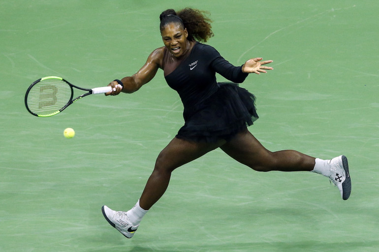 Serena Williams lors d'un match de l'US Open, lundi 27 août à New York