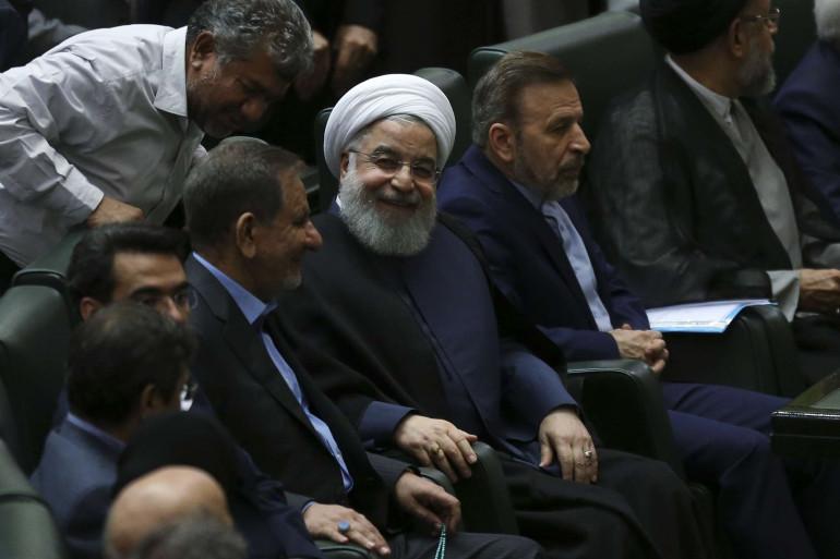 Hassan Rohani au parlement de Téhéran le 28 août 2018