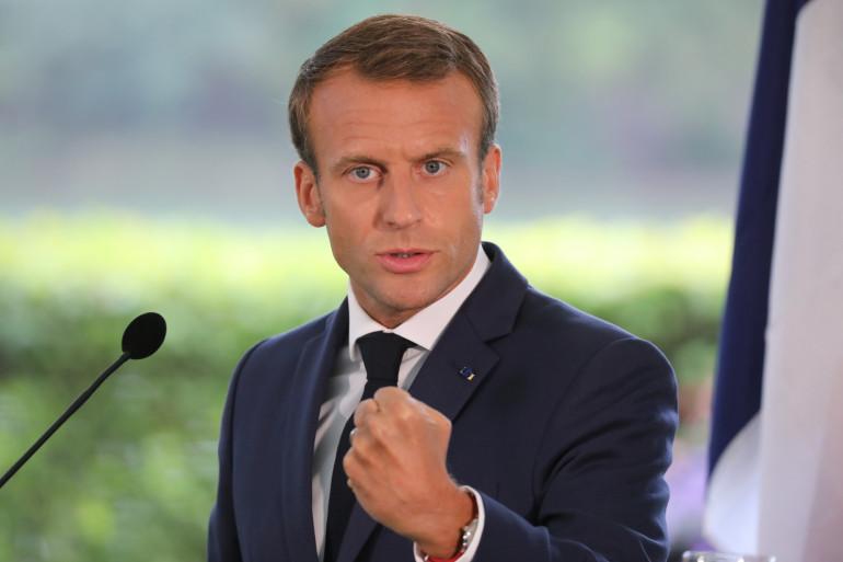 Emmanuel Macron en visite officielle en Finlande, le 30 août 2018.