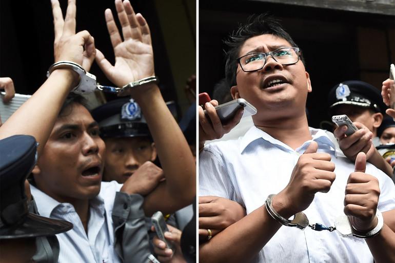 Les journalistes Kyaw Soe Oo et Wa Lone menottés après leur sentence à 7 ans de prison en Birmanie, lundi 3 septembre