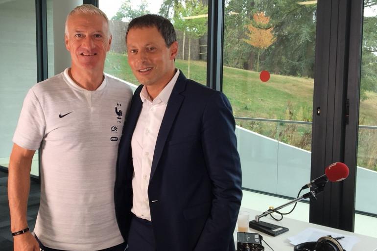 Didier Deschamps et Marc-Olivier Fogiel le 4 septembre 2018 à Clairefontaine
