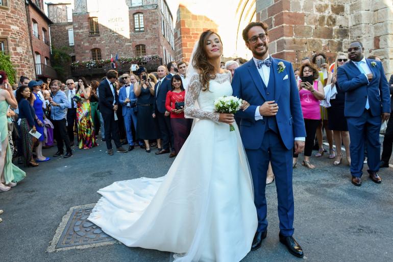 Thomas Hollande et Émilie Broussouloux lors de leur mariage le 8 septembre 2018