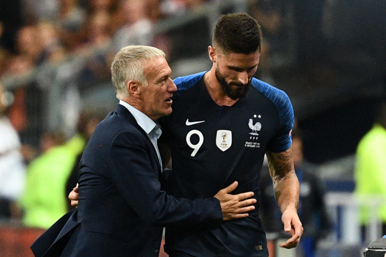 Didier Deschamps et Olivier Giroud le 9 septembre 2018 au Stade de France
