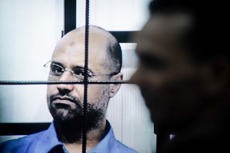 Saïf al-Islam Kadhafi, le fils du dictateur, lors de son procès à Zintan en Libye, le 27 avril 2014.