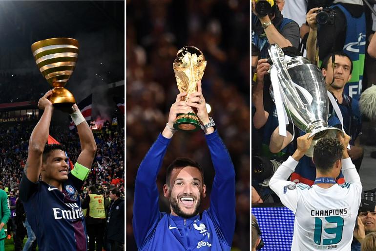 Thiago Silva avec la Coupe de la Ligue, Hugo Lloris avec la Coupe du monde et Cristiano Ronaldo avec la Ligue des champions