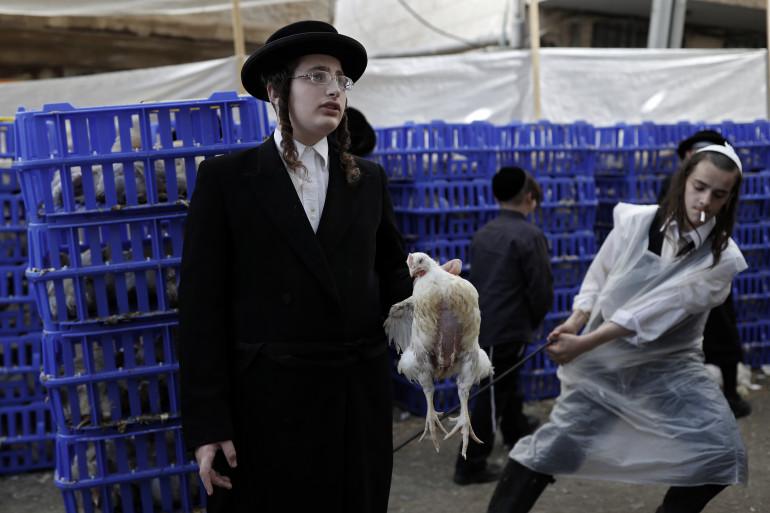 """À la veille de Kippour, le jour le plus sacré du judaïsme, des milliers de juifs israéliens ont pratiqué lundi à Jérusalem le rite des """"kapparot"""""""