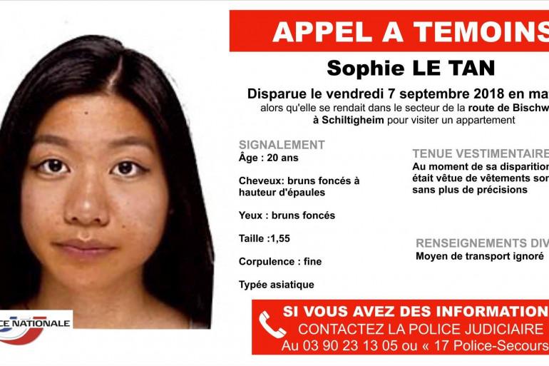 L'appel à témoin pour retrouver Sophie Le Tan, disparue depuis le 7 septembre 2018 en Alsace