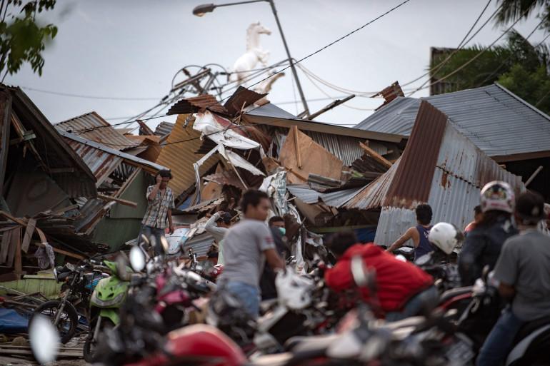 Une maison détruite par le séisme et le tsunami à Palu (Indonésie) le 29 septembre 2018