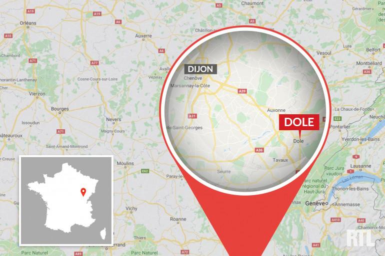 Localisation de la ville de Dole, dans le Jura.
